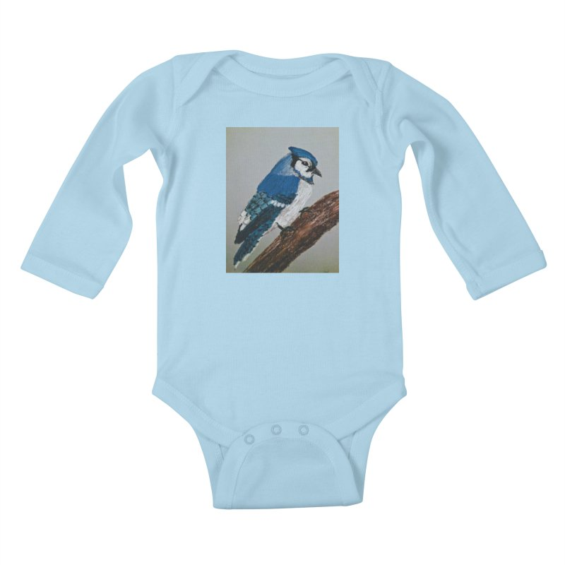 Blue Jay Kids Baby Longsleeve Bodysuit by Whimsical Wildlife Wares
