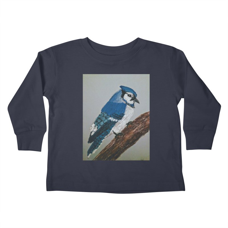 Blue Jay Kids Toddler Longsleeve T-Shirt by Whimsical Wildlife Wares