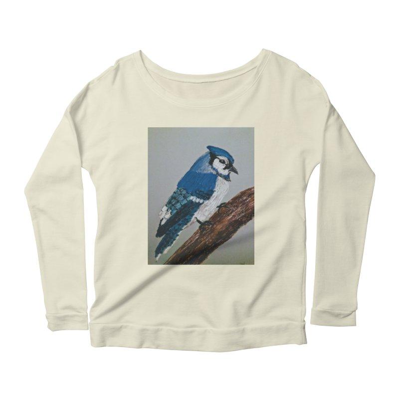 Blue Jay Women's Longsleeve Scoopneck  by Whimsical Wildlife Wares