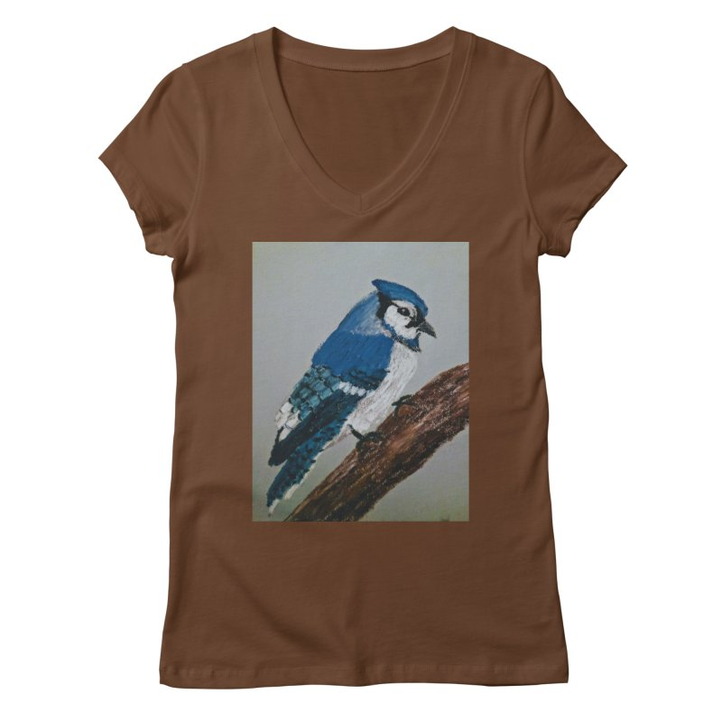 Blue Jay Women's V-Neck by Whimsical Wildlife Wares
