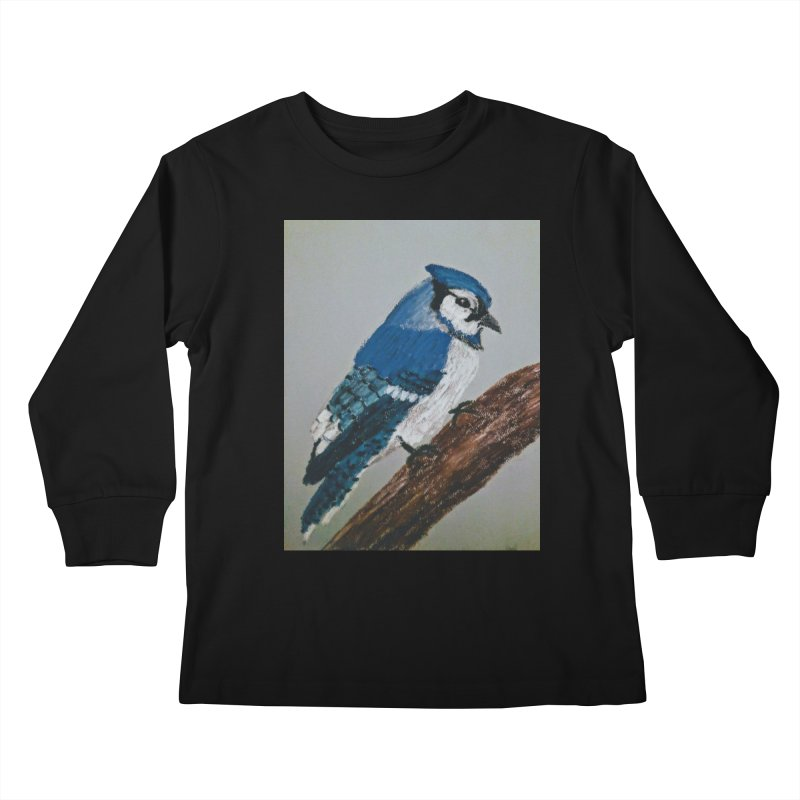 Blue Jay Kids Longsleeve T-Shirt by Whimsical Wildlife Wares