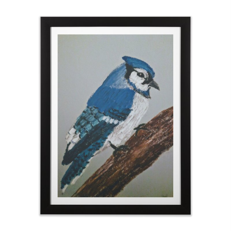Blue Jay Home Framed Fine Art Print by Whimsical Wildlife Wares