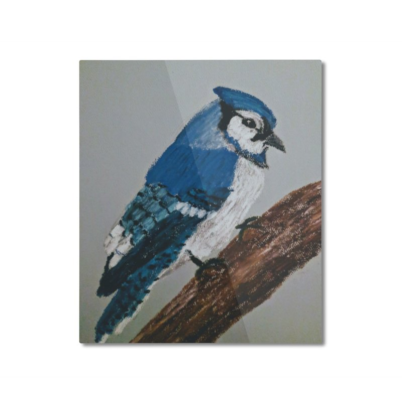 Blue Jay Home Mounted Aluminum Print by Whimsical Wildlife Wares