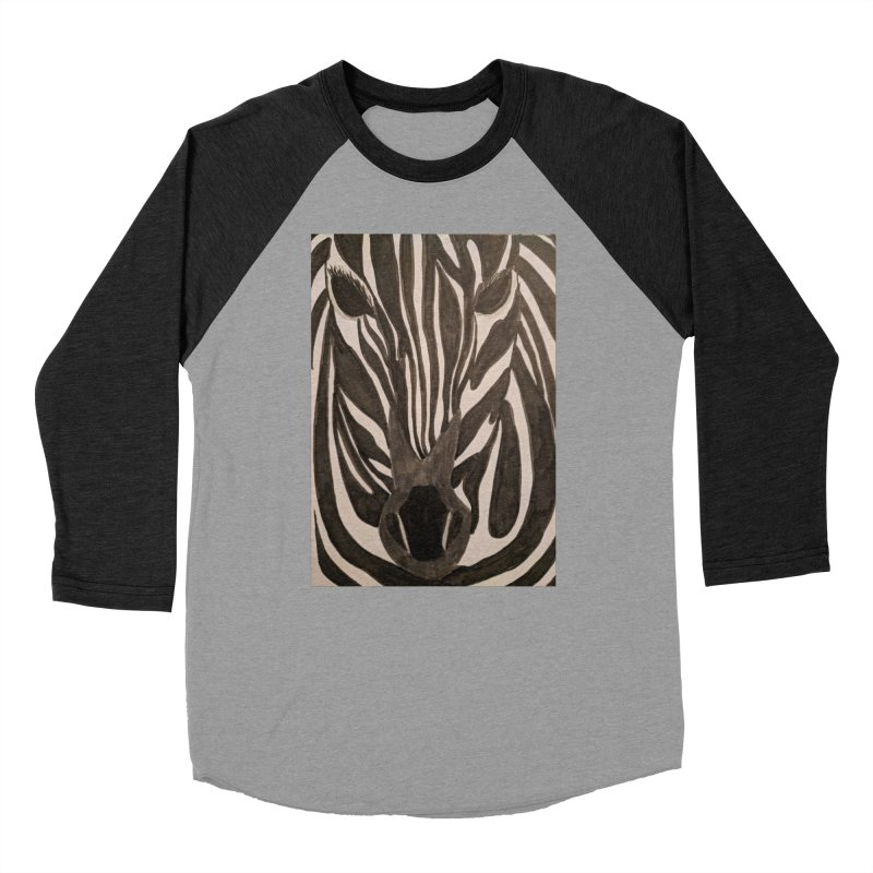 Zebra Men's Baseball Triblend T-Shirt by Whimsical Wildlife Wares