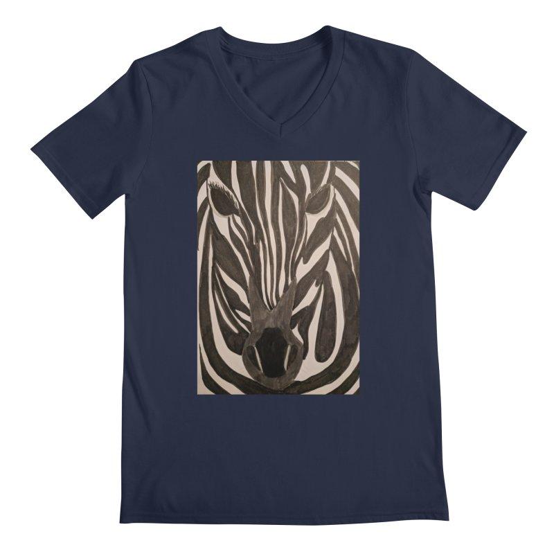 Zebra Men's V-Neck by Whimsical Wildlife Wares