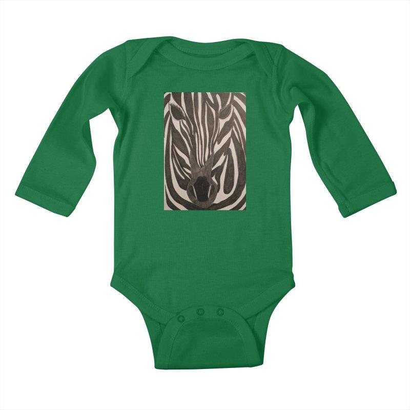 Zebra Kids Baby Longsleeve Bodysuit by Whimsical Wildlife Wares
