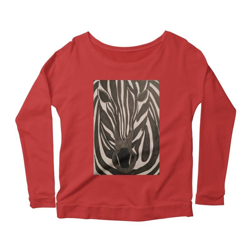 Zebra Women's Longsleeve Scoopneck  by Whimsical Wildlife Wares