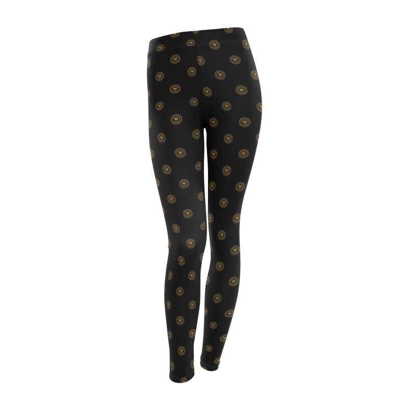 Black + Gold SunnyGrrrl Logo Pattern Women's Bottoms by SunnyGrrrl's Merch For Misfits