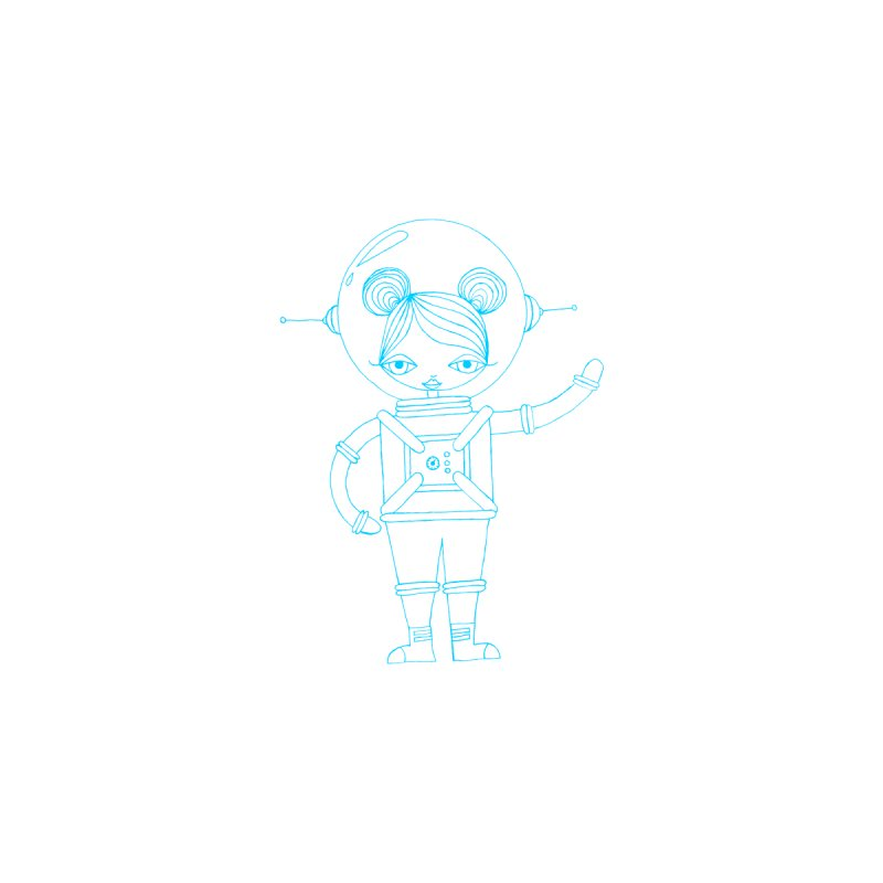 Astronaut Girl T-Shirt (Aqua) Kids Baby T-Shirt by SunnyGrrrl's Merch For Misfits