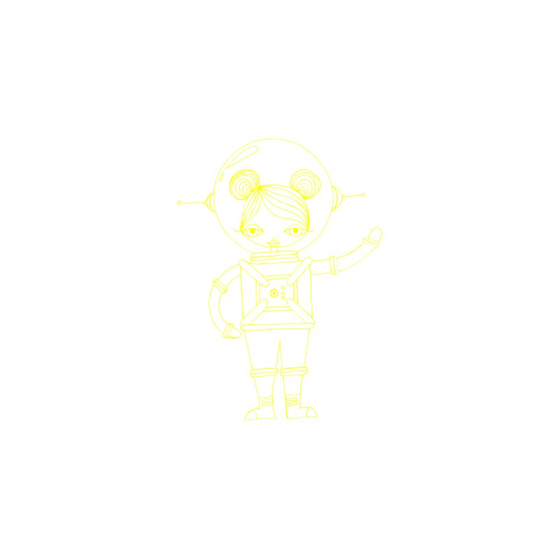 Astronaut Girl (Yellow) Kids Baby Bodysuit by SunnyGrrrl's Merch For Misfits