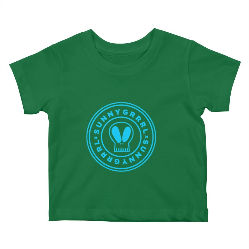 Aqua SunnyGrrrl Logo Kids Baby T-Shirt by SunnyGrrrl's Merch For Misfits