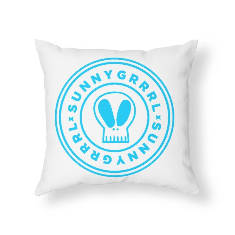 Aqua SunnyGrrrl Logo Home Throw Pillow by SunnyGrrrl's Merch For Misfits