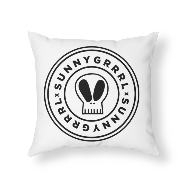 Black SunnyGrrrl Logo Home Throw Pillow by SunnyGrrrl's Merch For Misfits