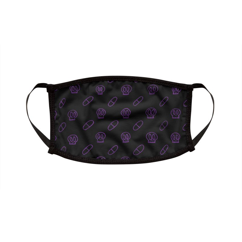 Black + Purple Pills x Skulls Face Mask Accessories Face Mask by SunnyGrrrl's Merch For Misfits