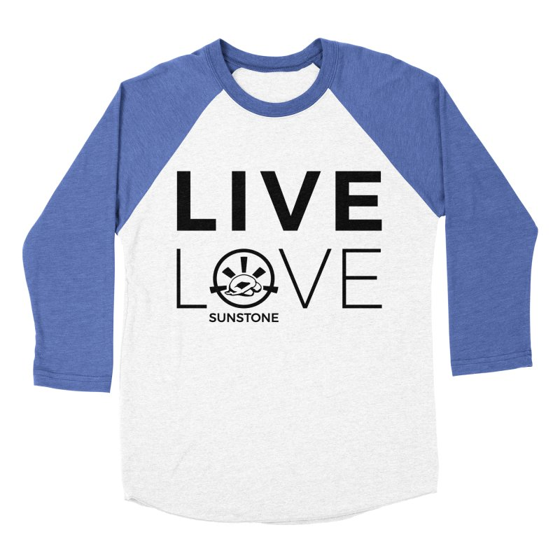 Live Love - Black Ink in Women's Baseball Triblend Longsleeve T-Shirt Tri-Blue Sleeves by sunstoneFIT's Shop