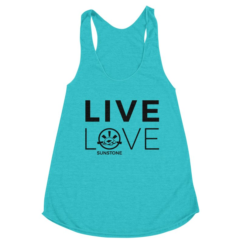Live Love - Black Ink in Women's Racerback Triblend Tank Pacific Blue by sunstoneFIT's Shop