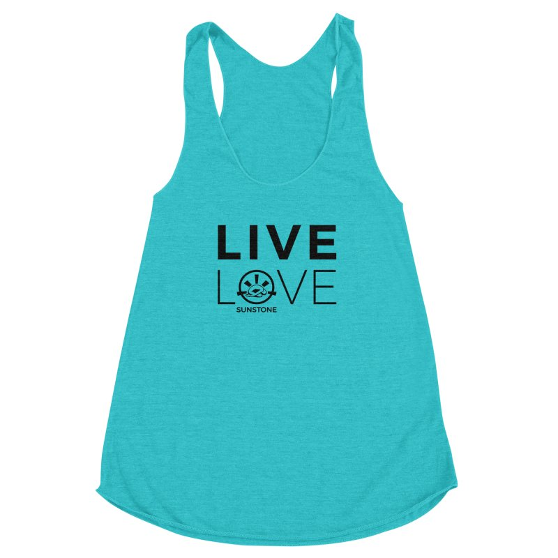 Live Love - Black Ink in Women's Racerback Triblend Tank Pacific Blue by sunstoneFIT's Shop