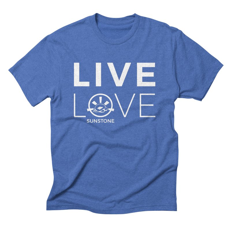 Live Love - White Ink in Men's Triblend T-Shirt Blue Triblend by sunstoneFIT's Shop