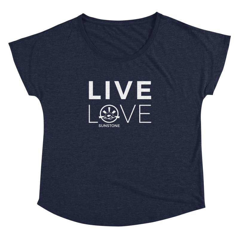 Live Love - White Ink in Women's Dolman Scoop Neck Heather Navy by sunstoneFIT's Shop