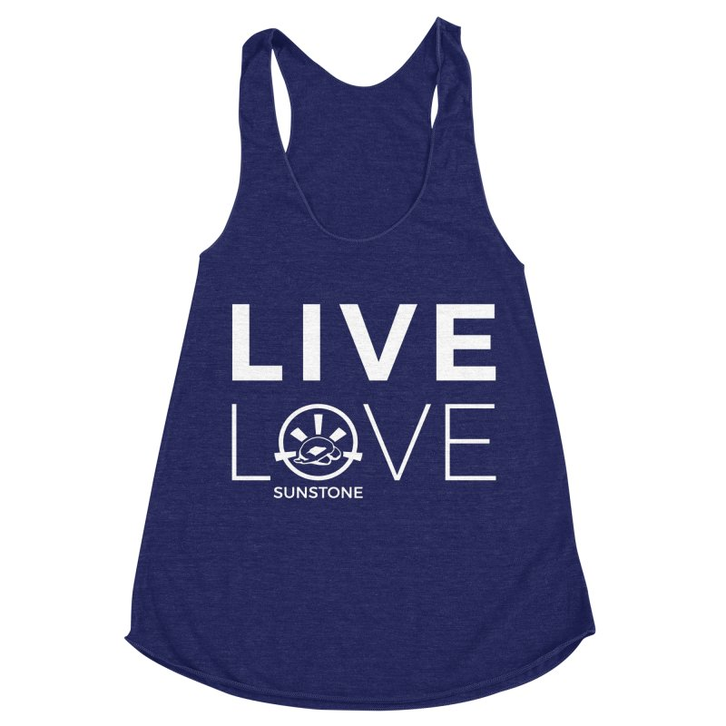 Live Love - White Ink in Women's Racerback Triblend Tank Tri-Indigo by sunstoneFIT's Shop