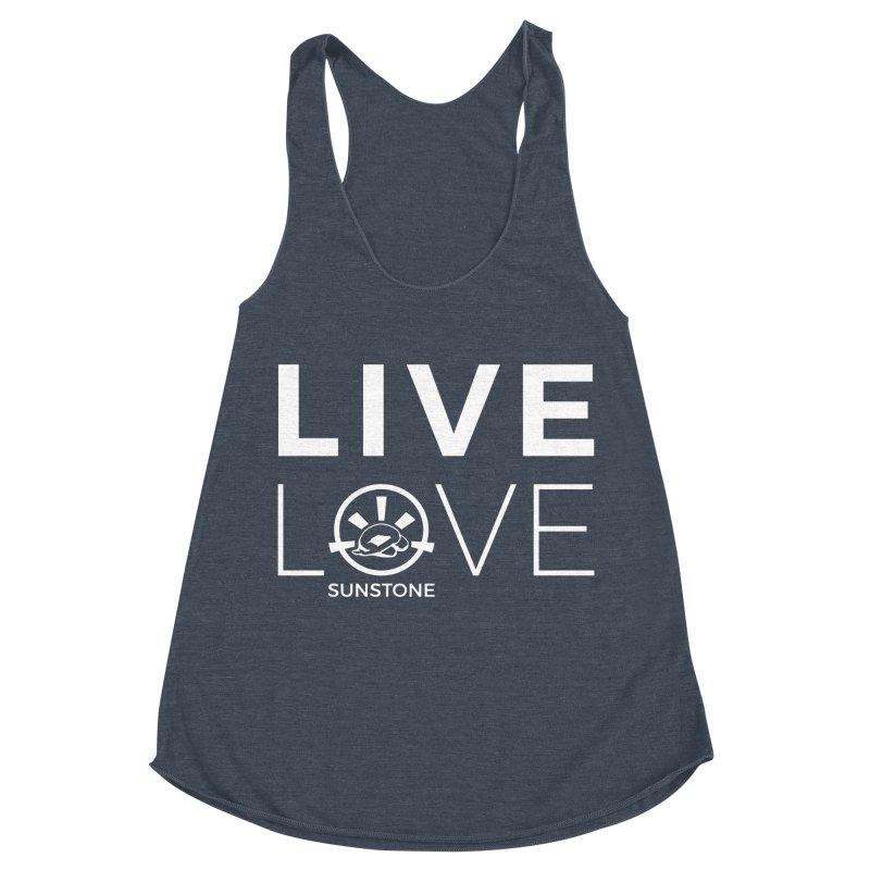 Live Love - White Ink Women's Racerback Triblend Tank by sunstoneFIT's Shop