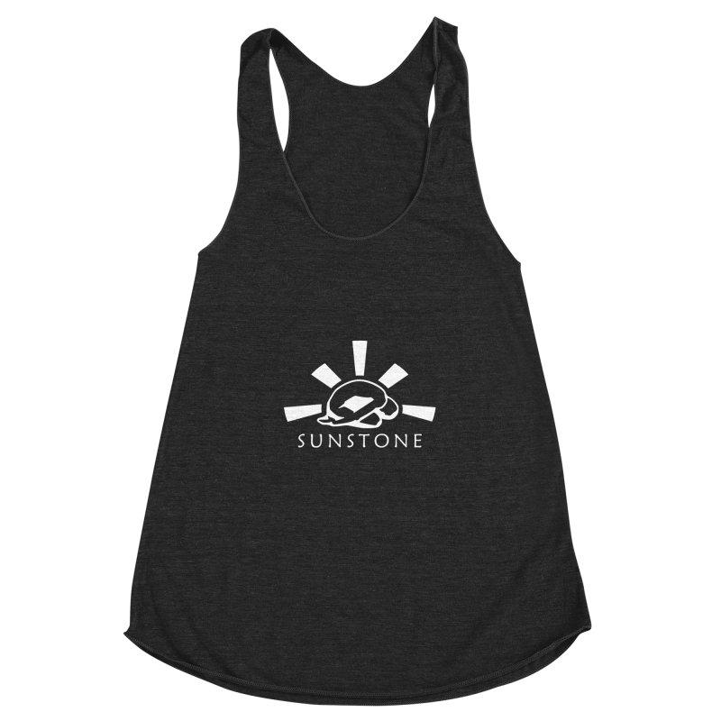 Sunstone Logo - white ink Women's Racerback Triblend Tank by sunstoneFIT's Shop