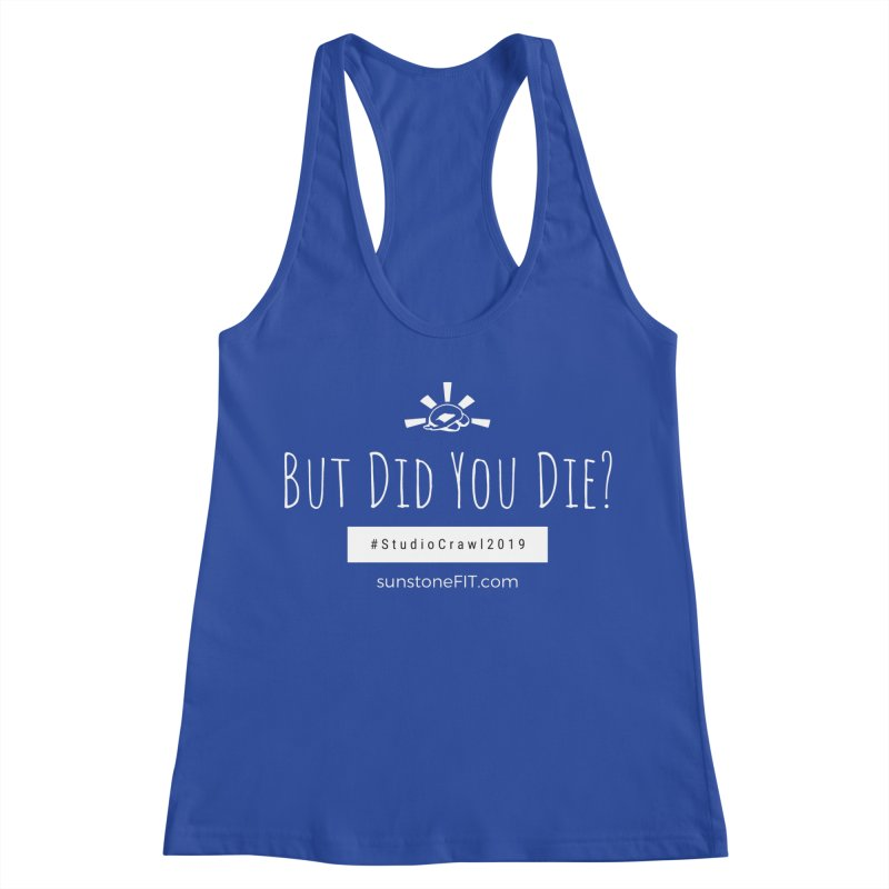 Studio Crawl White Font in Women's Racerback Tank Royal Blue by sunstoneFIT's Shop