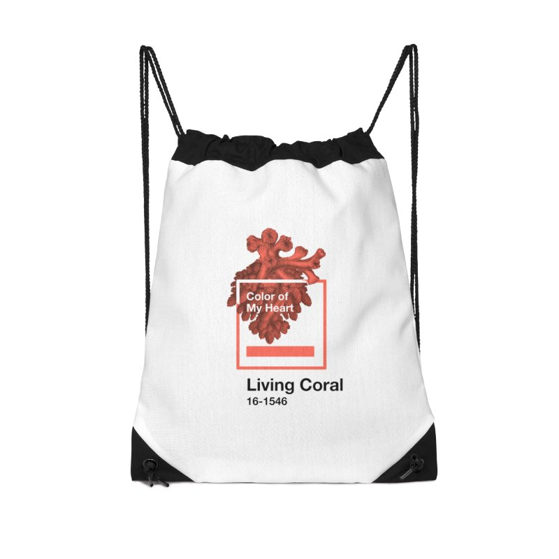 Coral Of My Heart Accessories Drawstring Bag Bag by ゴロキ | GORODKEY | GRDK Clothing