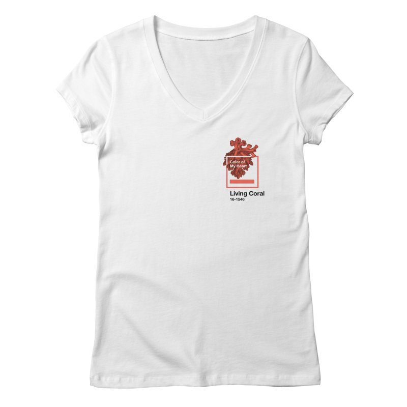 Coral Of My Heart Women's Regular V-Neck by СУПЕР* / SUPER*