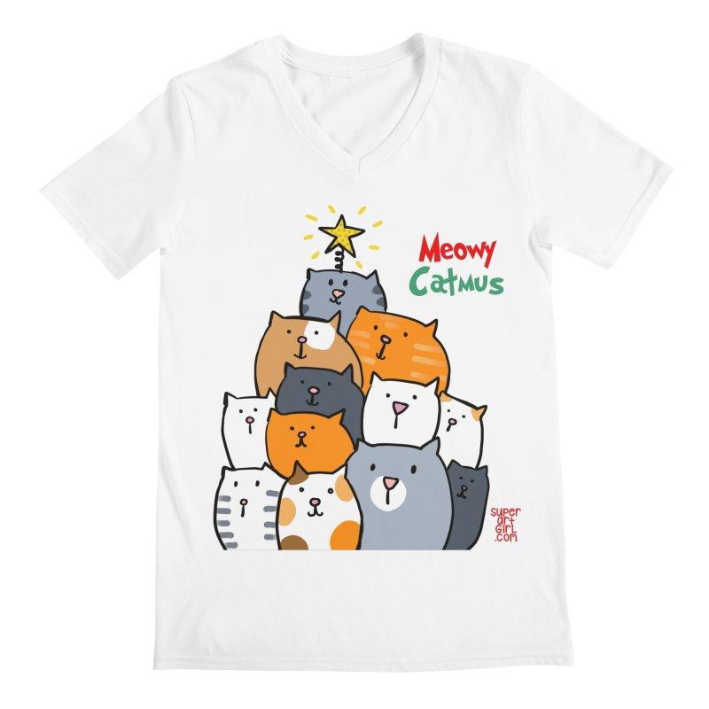 Meowy Catmus Men's V-Neck by superartgirl's Artist Shop