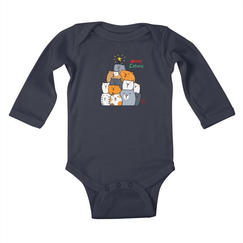 Meowy Catmus Kids Baby Longsleeve Bodysuit by superartgirl's Artist Shop
