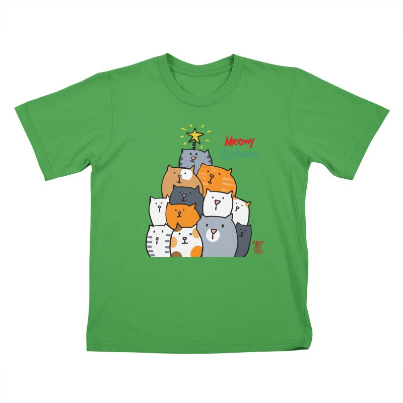 Meowy Catmus Kids T-Shirt by superartgirl's Artist Shop