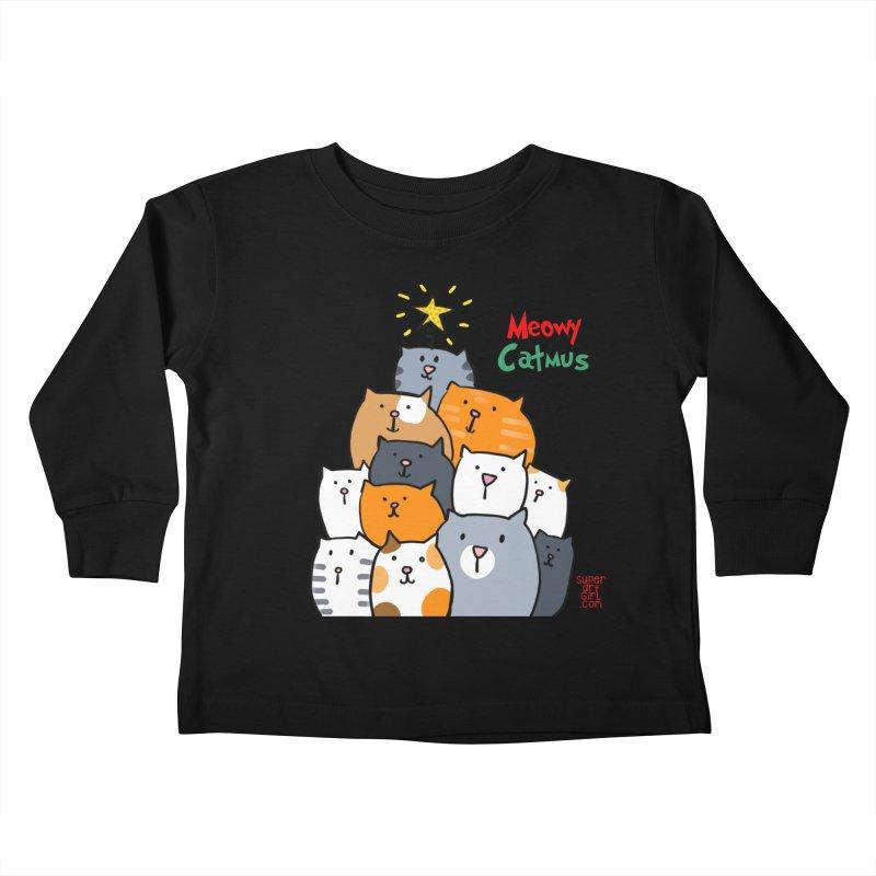 Meowy Catmus Kids Toddler Longsleeve T-Shirt by superartgirl's Artist Shop