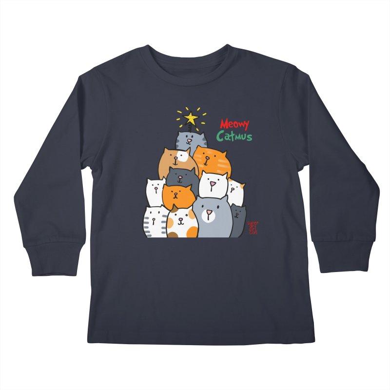 Meowy Catmus Kids Longsleeve T-Shirt by superartgirl's Artist Shop