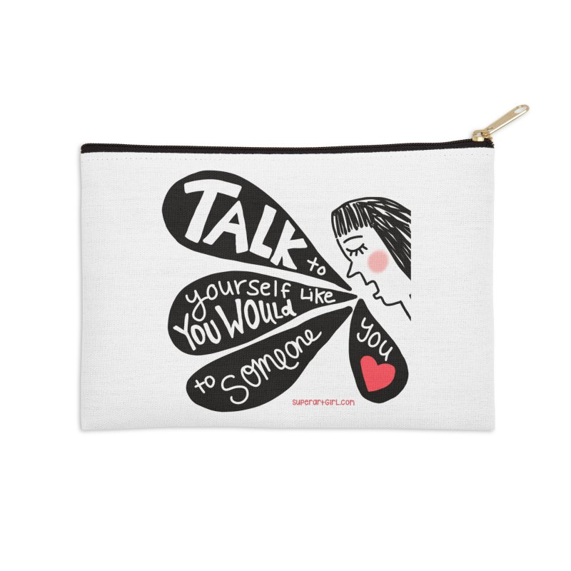 Talk to Yourself Accessories Zip Pouch by superartgirl's Artist Shop