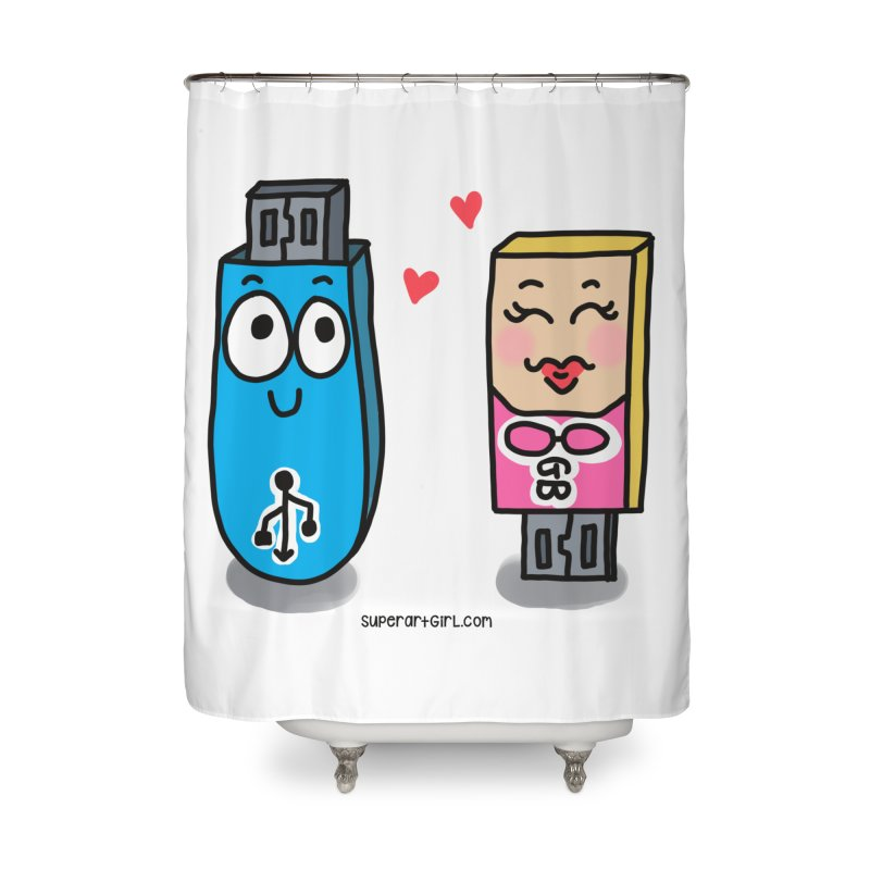 U-SB In Love Home Shower Curtain by superartgirl's Artist Shop