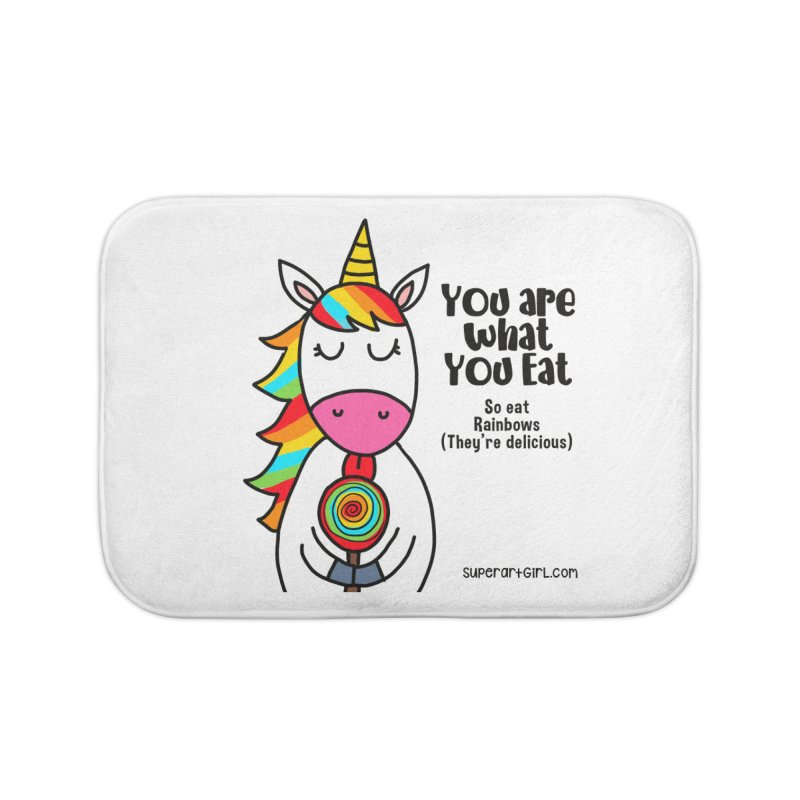 You Are What You Eat Home Bath Mat by superartgirl's Artist Shop