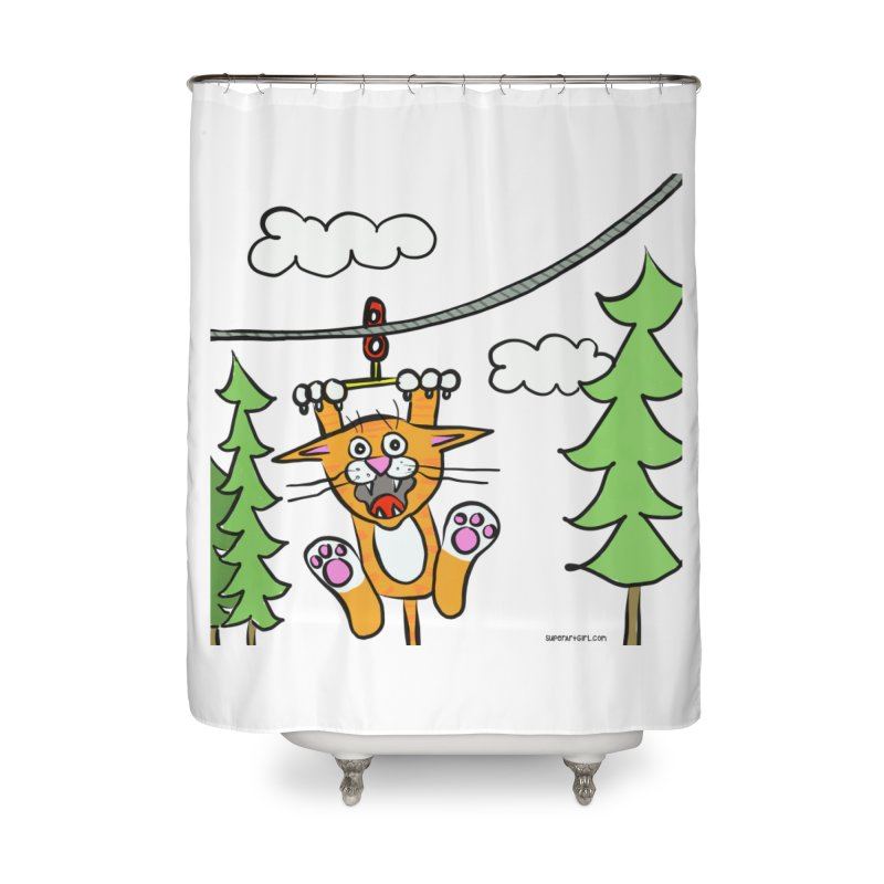 Zip line Home Shower Curtain by superartgirl's Artist Shop