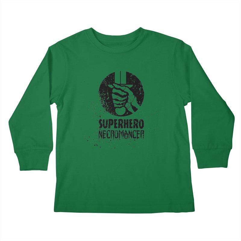 Superhero Necromancer Press Logo (Black) Kids Longsleeve T-Shirt by Superhero Necromancer Press
