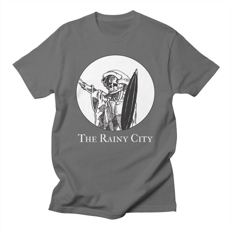 Rainy City Skeleton Logo (Black & White) Men's T-Shirt by Superhero Necromancer Press