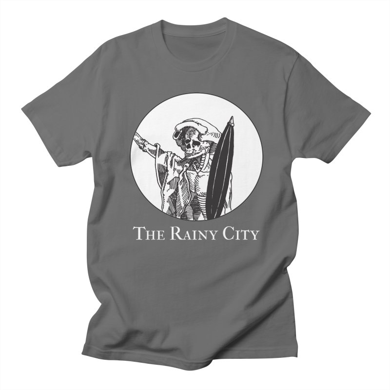 Rainy City Skeleton Logo (Black & White) Men's T-Shirt by Superhero Necromancer Press