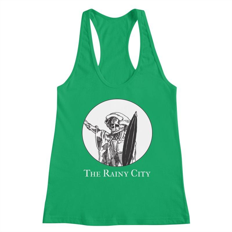 Rainy City Skeleton Logo (Black & White) Women's Tank by Superhero Necromancer Press