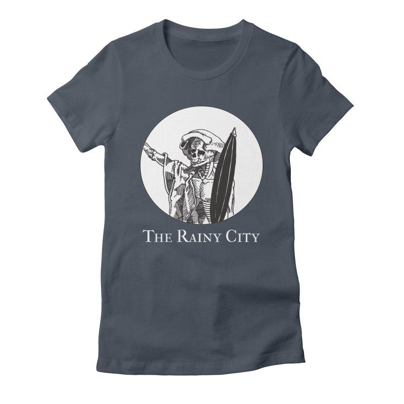 Rainy City Skeleton Logo (Black & White) Women's T-Shirt by Superhero Necromancer Press