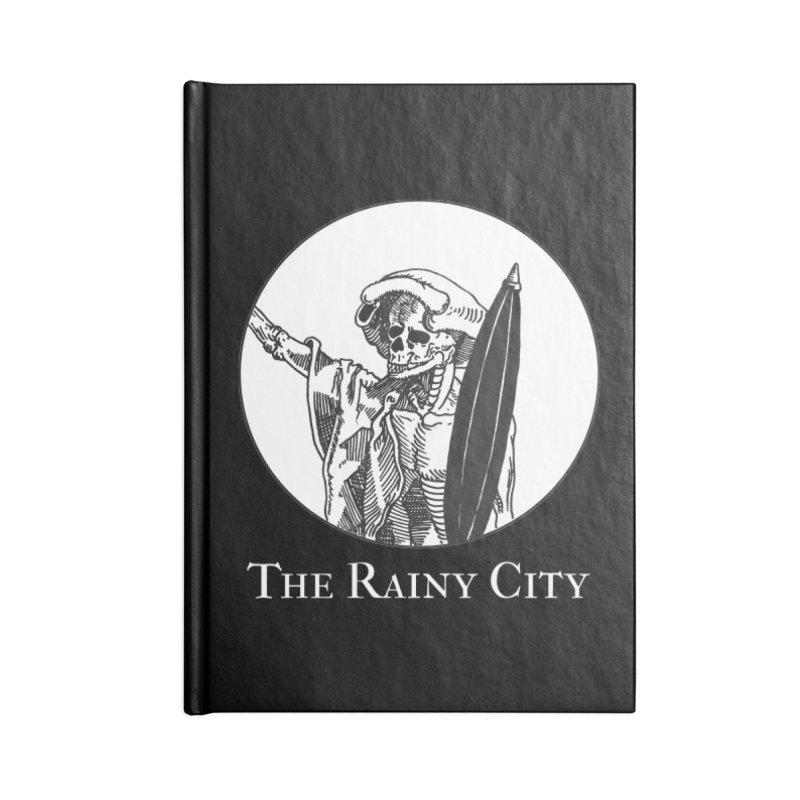 Rainy City Skeleton Logo (Black & White) Accessories Notebook by Superhero Necromancer Press