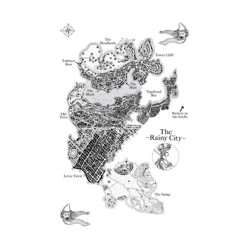 Rainy City Map (Black & White) Home Fine Art Print by Superhero Necromancer Press