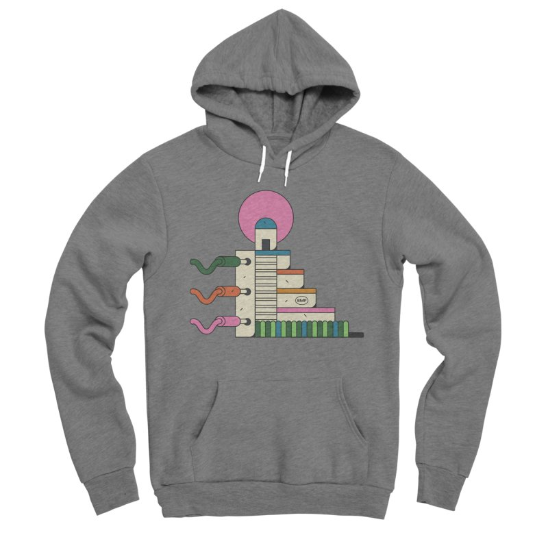 Mayan synth temple Men's Sponge Fleece Pullover Hoody by Super Magic Friend Store