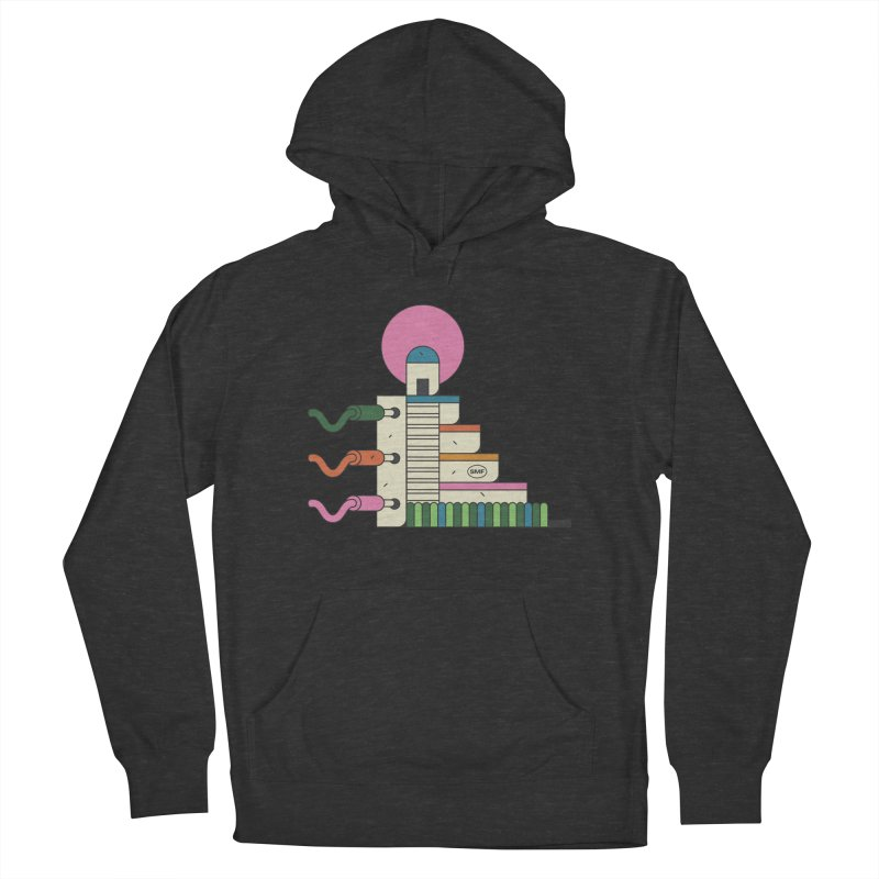 Mayan synth temple Men's French Terry Pullover Hoody by Super Magic Friend Store