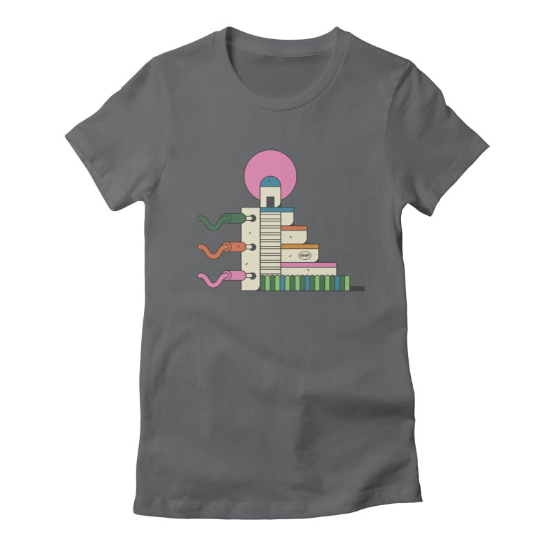Mayan synth temple Women's Fitted T-Shirt by Super Magic Friend Store