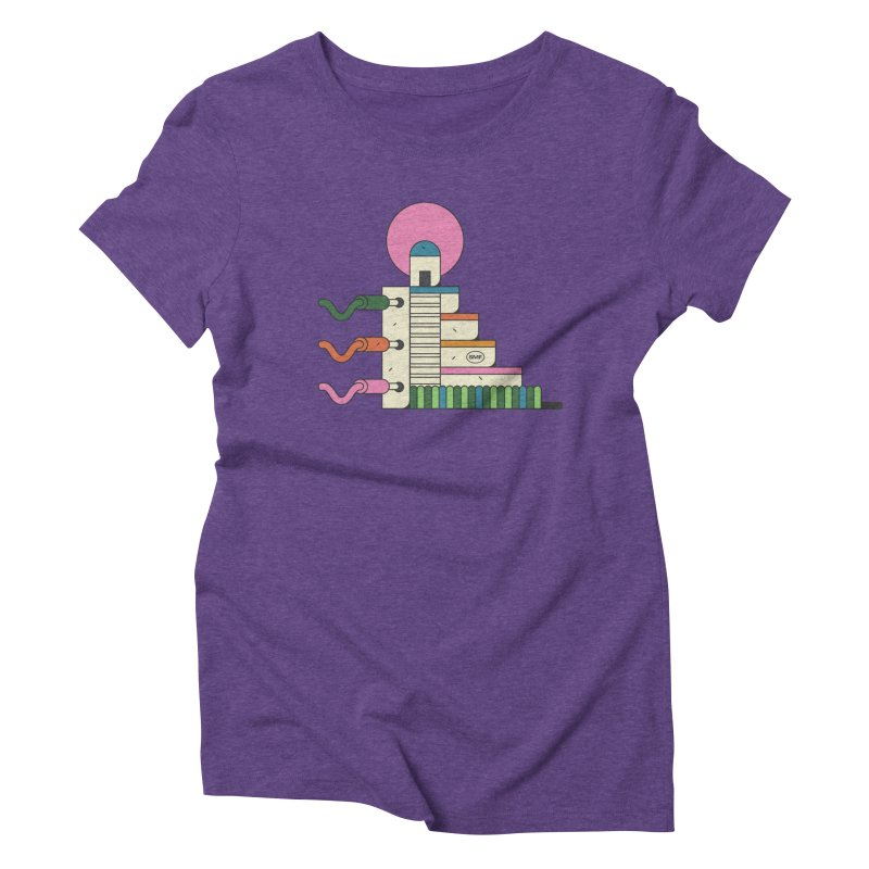 Mayan synth temple Women's Triblend T-Shirt by Super Magic Friend Store