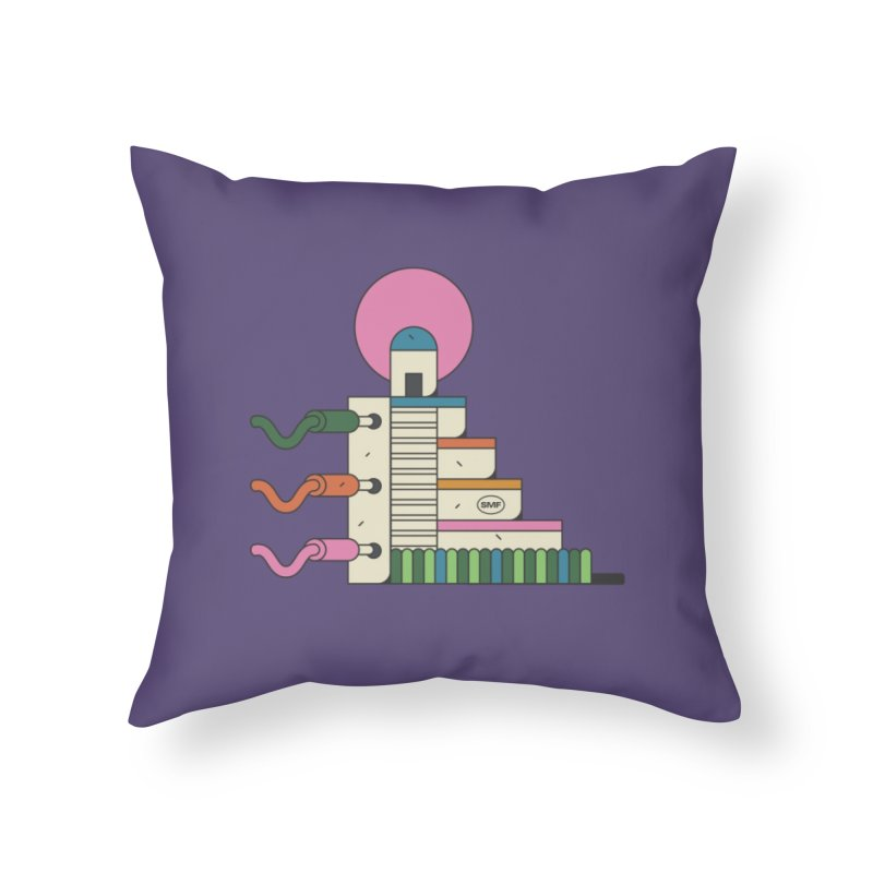 Mayan synth temple Home Throw Pillow by Super Magic Friend Store